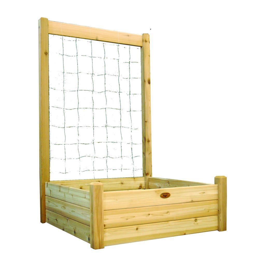 48 in. x 48 in. x 19 in. Raised Garden Bed with 48 in. W x 80 in. H Trellis Kit