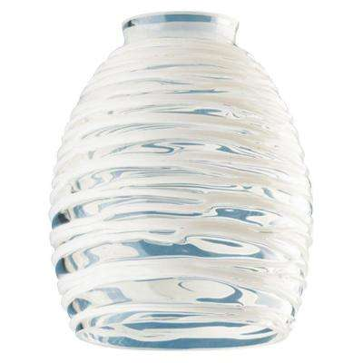 5-3/4 in. Handblown Clear with White Rope Shade with 2-1/4 in. Fitter and 4-5/8 in. Width