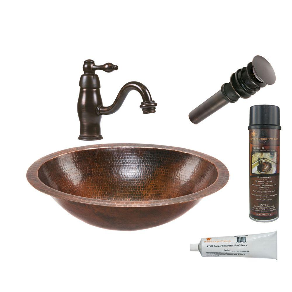 All-in-One Oval Under Counter Hammered Copper Bathroom Sink in Oil Rubbed