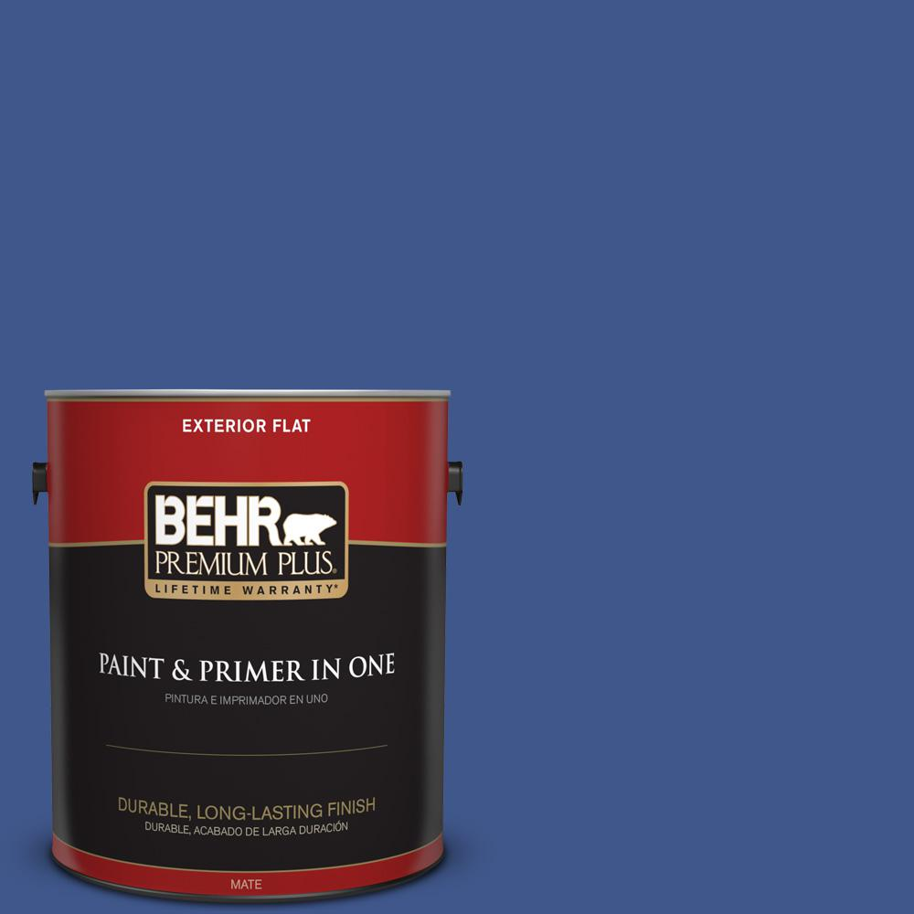 1 gal. #PPU15-03 Dark Cobalt Blue Flat Exterior Paint
