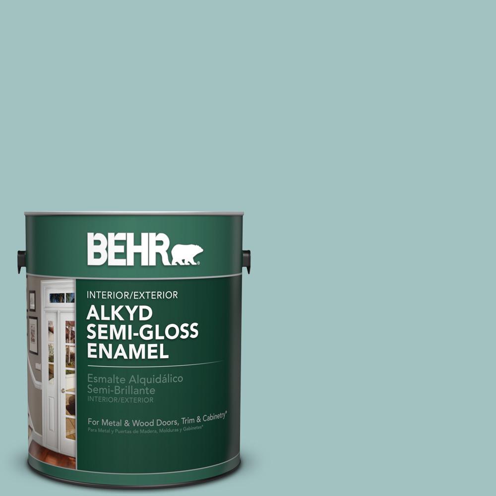 1 gal. #S440-3 Aspiring Blue Semi-Gloss Enamel Alkyd Interior/Exterior Paint