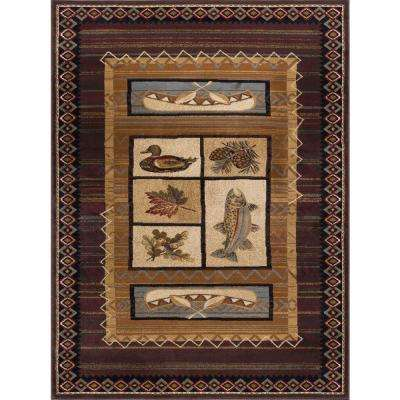 Nature Brown 7 ft. 10 in. x 10 ft. 3 in. Lodge Area Rug