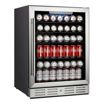 24 in. Built-in Single Zone Beverage Refrigerator with 170 Can 12 oz. Beverage
