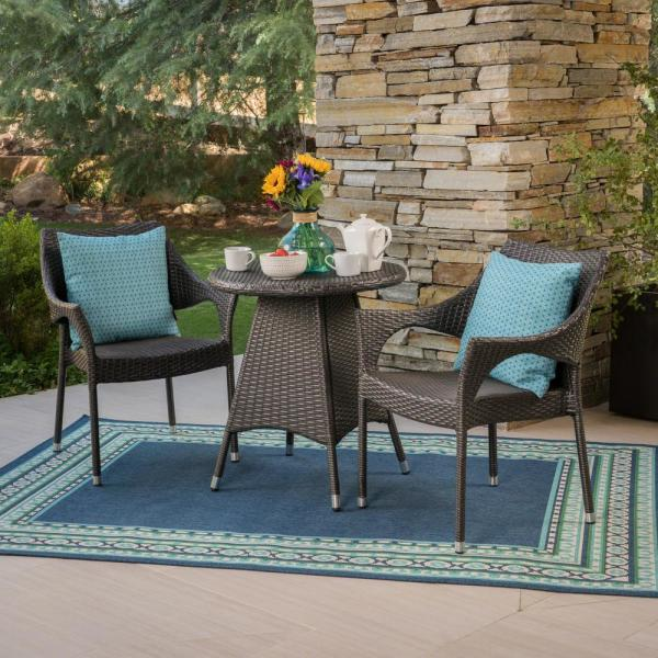 Ceylon 28.35 in. Grey 3-Piece Metal Round Outdoor Bistro Set