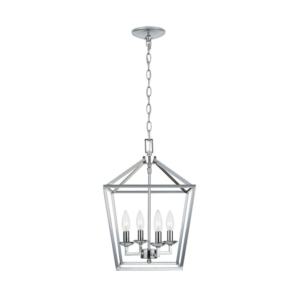 Home Decorators Collection Weyburn 4 Light Polished Chrome Caged Chandelier Cp 46201 The Home Depot