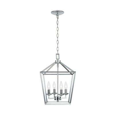 Weyburn 4-Light Polished Chrome Caged Chandelier