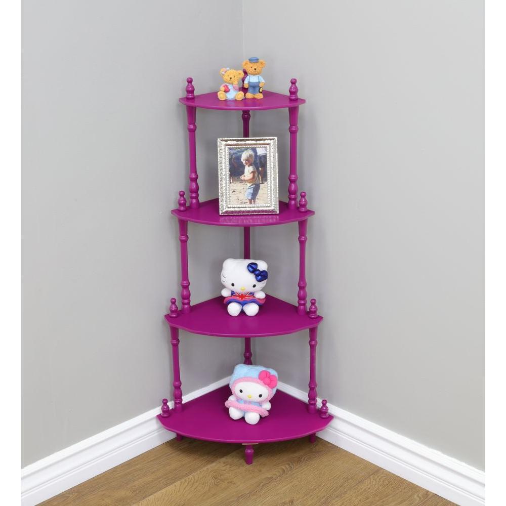 8 in. W x 13.4 in. D 4-Tier Decorative Shelf in Purple