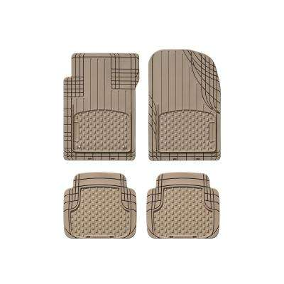 Tan 19 in. x 27 in. Advanced Rubber-like Thermoplastic Elastomer (TPE) Compound Car Mat (4-Piece)