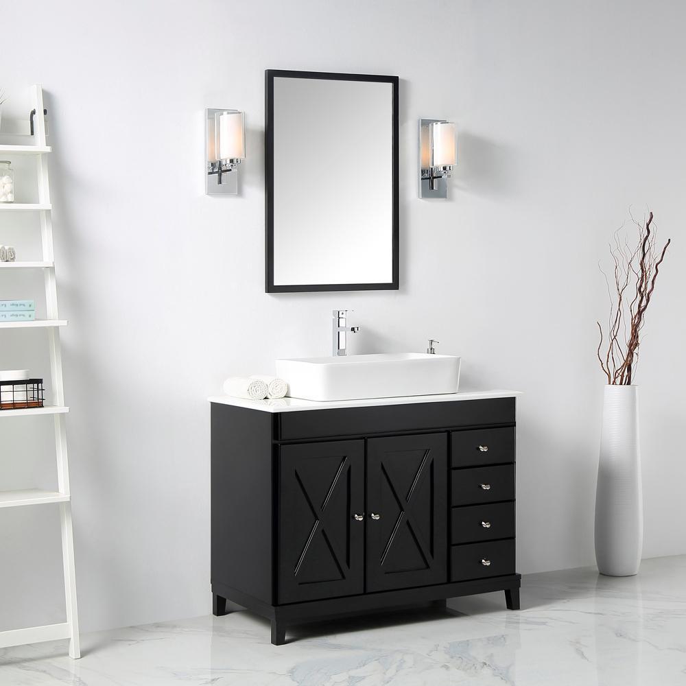 Aspen 40 in. W x 22 in. D x 41 in. H Bath Vanity in Espresso with Ceramic Vanity Top in White with White Basin