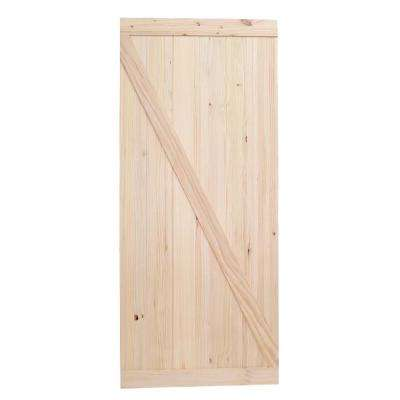Bon 42 In. X 84 In. Reverse Z Solid Pine Interior Wooden Barn Door