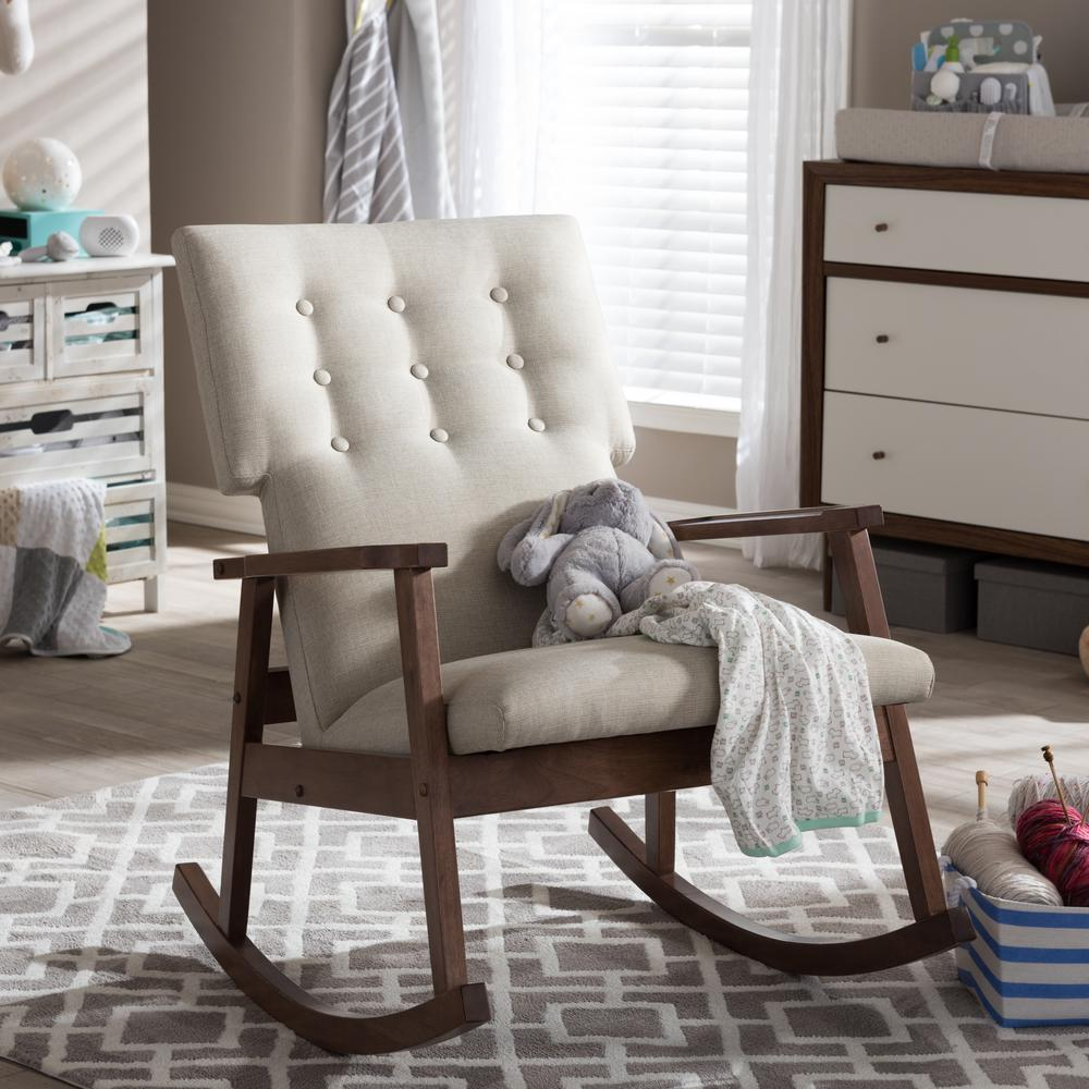 Baxton Studio Agatha Mid Century Beige Fabric Upholstered Rocking Chair 28862 6763 HD    The Home Depot