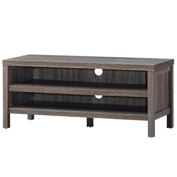 42 in. Grey Oak Wood End Table with 2-Open storage shelves