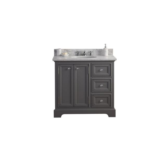 Derby 36 in. W x 34 in. H Vanity in Gray with Marble Vanity Top in Carrara White with White Basin