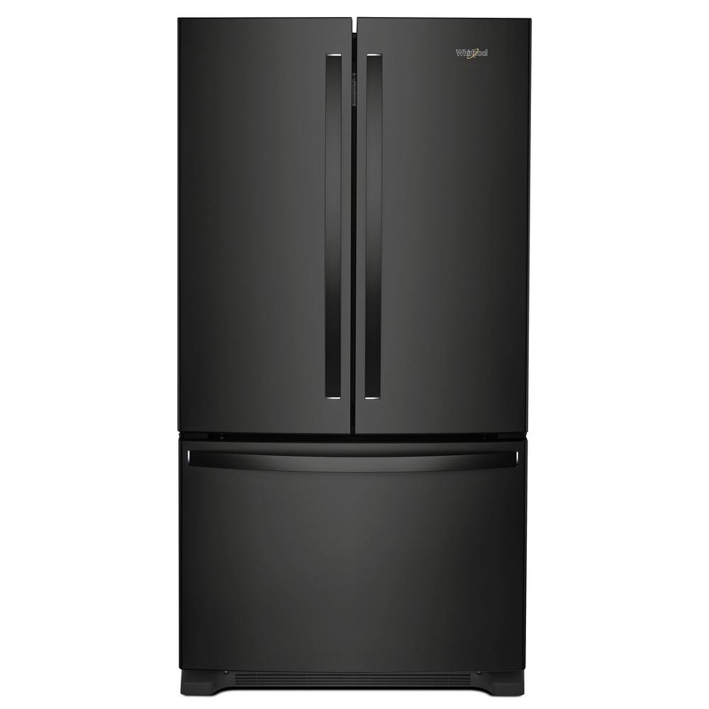 20 Cu Ft French Door Refrigerator: Whirlpool 20 Cu. Ft. French Door Refrigerator In Black With Internal Water Dispenser, Counter