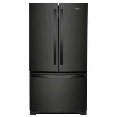 20 cu. ft. French Door Refrigerator in Black with Internal Water Dispenser, Counter Depth