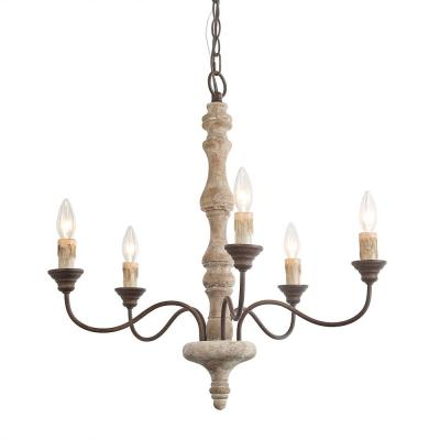 5-Light Bronze Wood French Country Chandelier