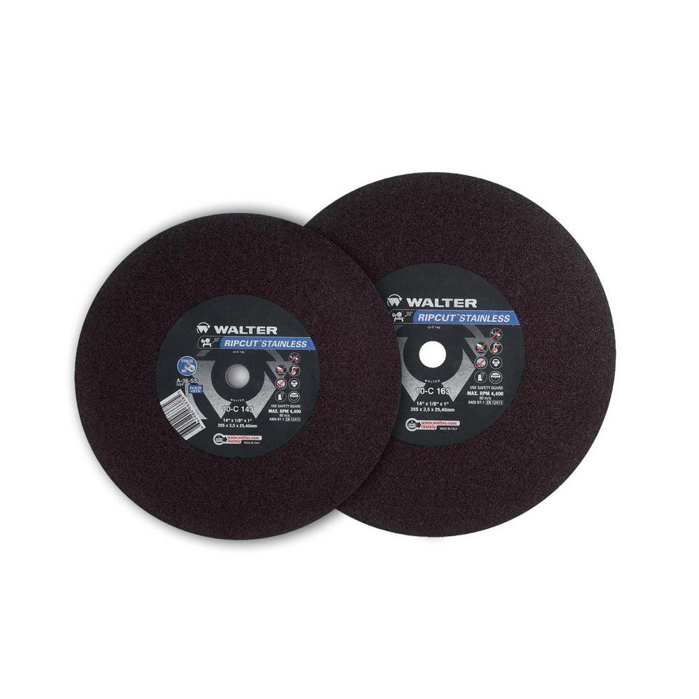 WALTER SURFACE TECHNOLOGIES RIPCUT 20 in. x 1 in. Arbor x 3/16 in. T1 GR A36SS Cutting Disc (5-Pack)