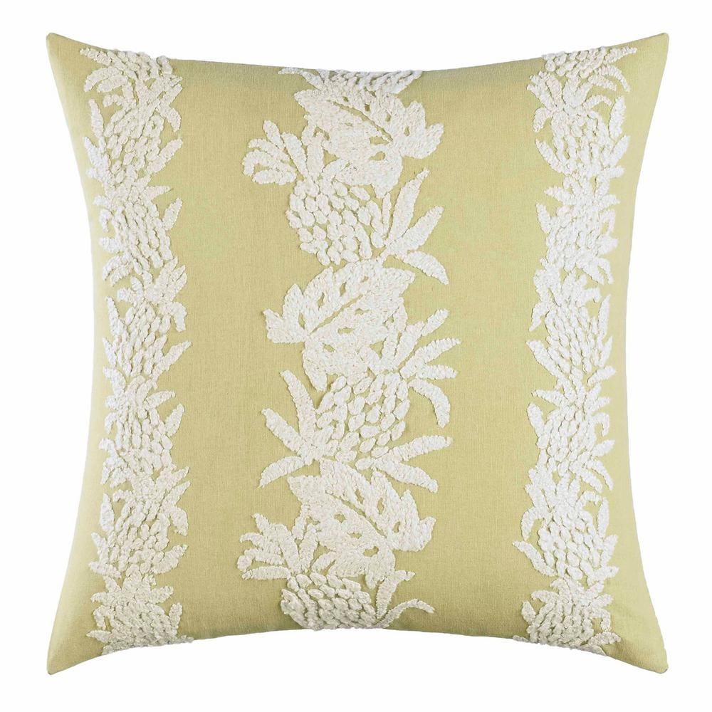 Siesta Key Pineapple Stripe Kiwi 20 in. x 20 in. Throw Pillow, Green Create an island oasis no matter where you call home with this all cotton, Tommy Bahama Siesta Key Pineapple Stripe throw pillow. This pillow features beautiful pineapple embroidery in white on a bright green ground. Pair this pillow with the Tommy Bahama Siesta Key Ensemble (sold separately). Cotton cover features a polyester fill and easy zipper closure. Machine Washable for easy care. Pillow measures 20 in. L x 20 in. W.