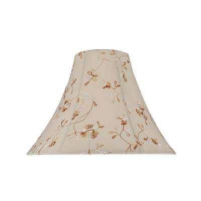 16 in. x 12 in. Apricot and Floral Embroidered Design Bell Lamp Shade