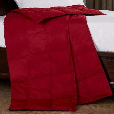 Packable Down 50 in. x 70 in. Red Throw Blanket