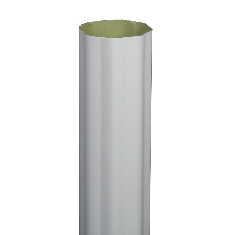 4 in. x 10 ft. White Aluminum Round Corrugated High Gloss