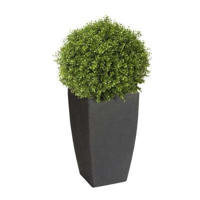 Madison 20 in. Square Charcoal Rounded Plastic Planter with 12 in. Pot Insert