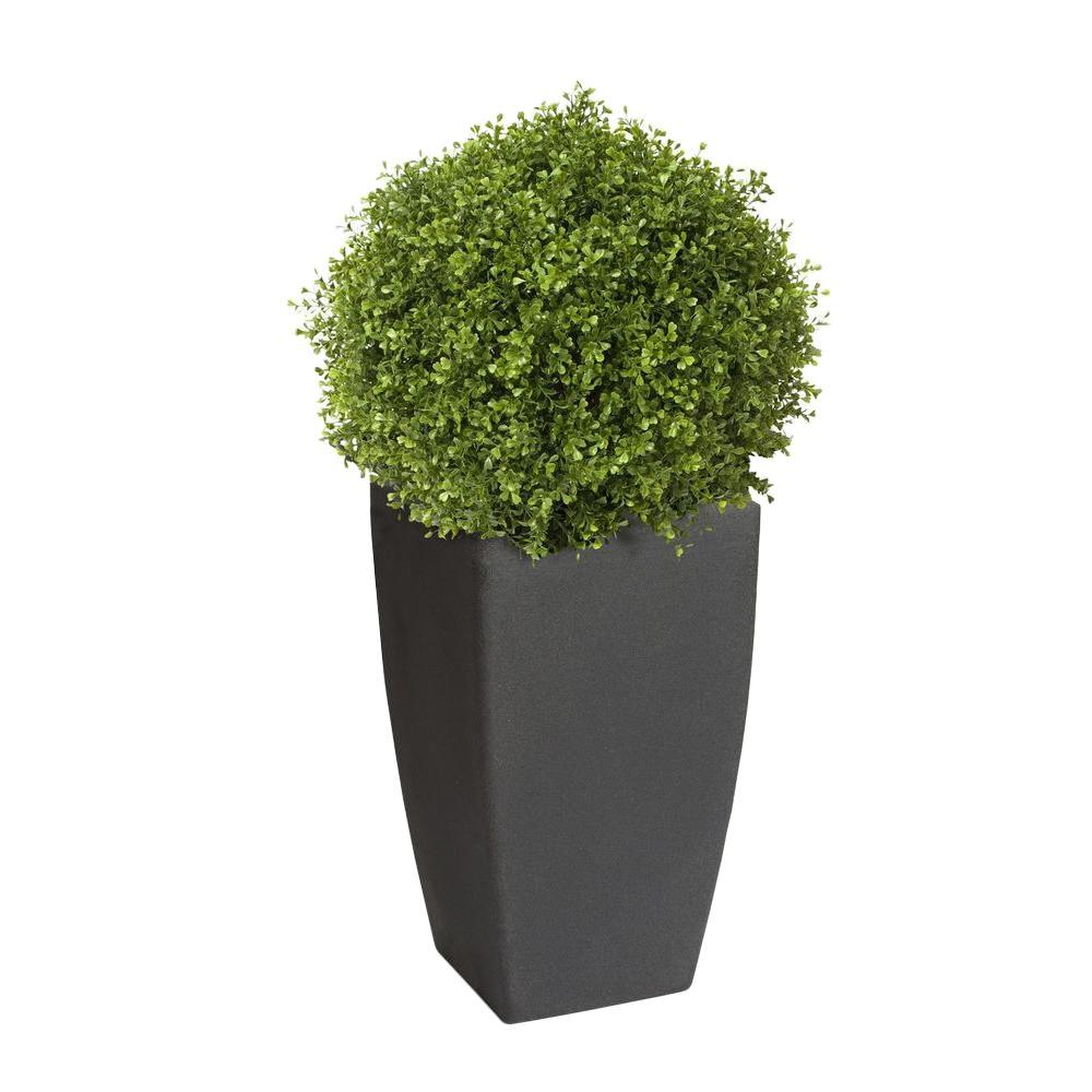 Madison 20 in. Square Charcoal Rounded Plastic Planter with 12 in.