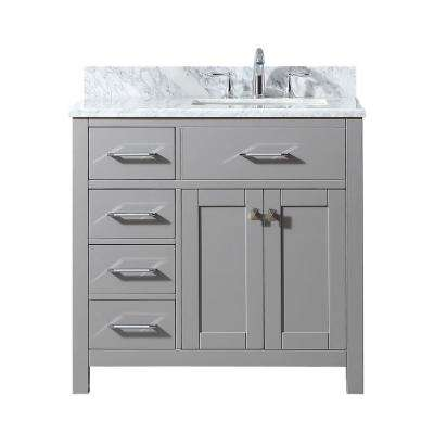Caroline Parkway 36 in. W Bath Vanity in Cashmere Gray with Marble Vanity Top in White with Square Basin