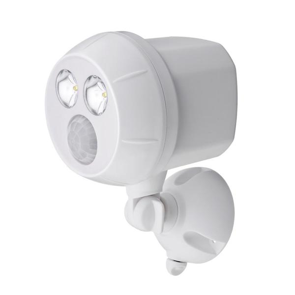 Outdoor UltraBright 400 Lumen Battery Powered  Motion Activated Integrated LED Spotlight, White