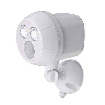 300 Lumen Outdoor White Weatherproof Wireless Battery Powered LED Ultra Bright Spot Light with Motion Sensor