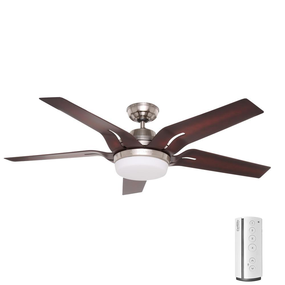 brushed nickel casablanca ceiling fans 59198 64_1000 hugger 52 in led indoor brushed nickel ceiling fan with light kit  at bakdesigns.co