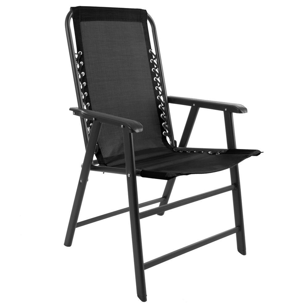 Pure Garden Black Metal Folding Lawn Chair-HW1500047 - The ...