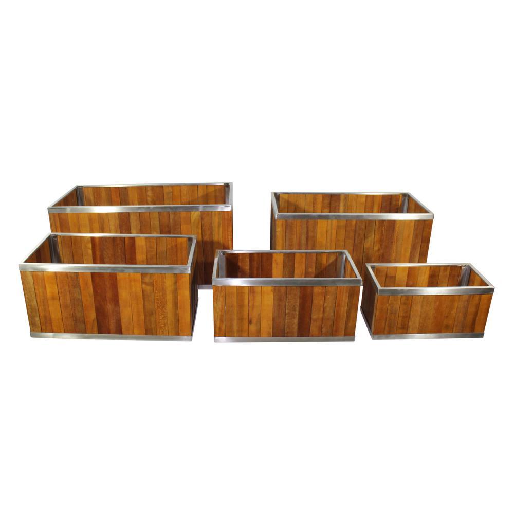 16 in. x 32 in. Rectangular Medium Brown Wooden Planter with Stainless Steel Trim