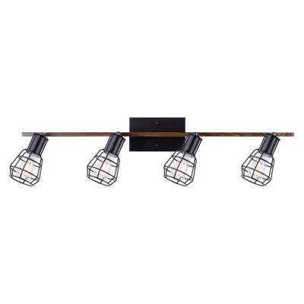 Toma 2.8 ft. 4-Light Matte Black and Faux Wood Incandescent or LED Track Lighting Kit
