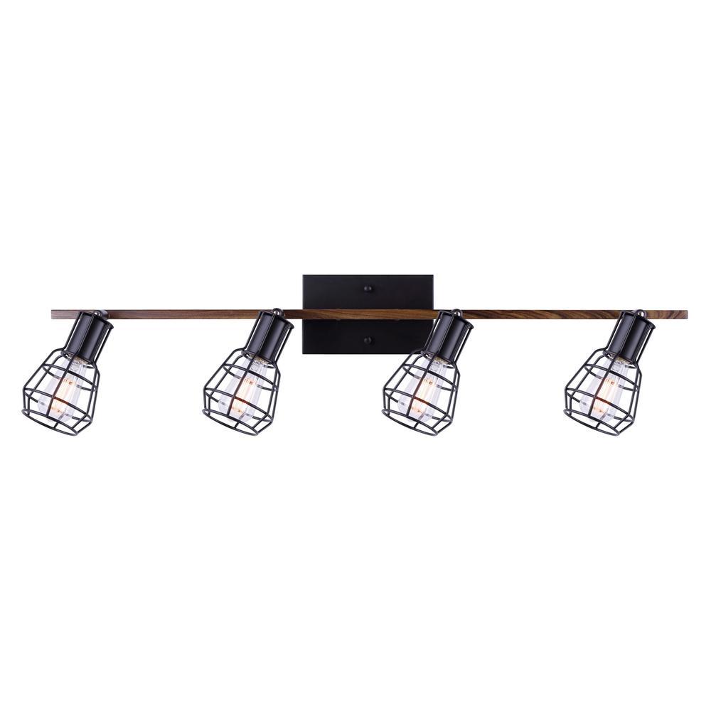 Toma 4-Light Matte Black and Faux Wood Track Lighting Kit