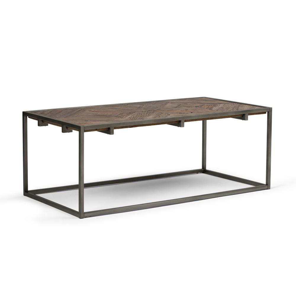 Simpli Home Avery Distressed Java Brown Wood Inlay Coffee Table