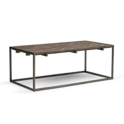 Avery Solid Aged Elm Wood and Metal 48 in. Wide Modern Industrial Coffee Table in Distressed Java Brown Wood Inlay