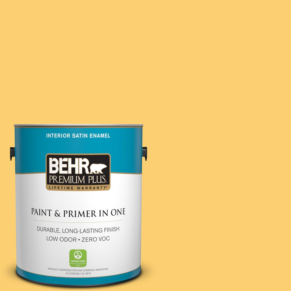1-gal. #320B-6 Mellow Yellow Zero VOC Satin Enamel Interior Paint