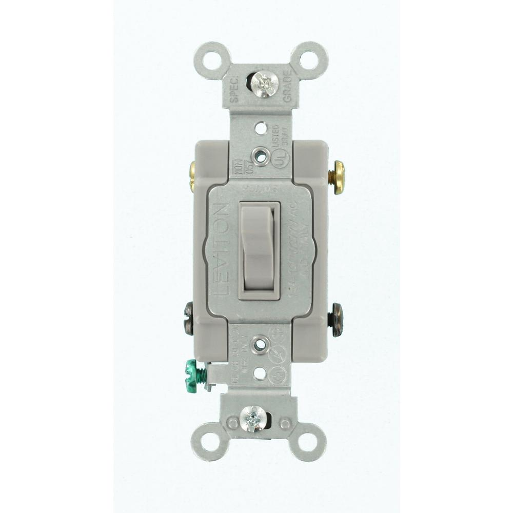 Leviton 15 Amp Commercial Grade 4Way Toggle Switch Gray545042GY