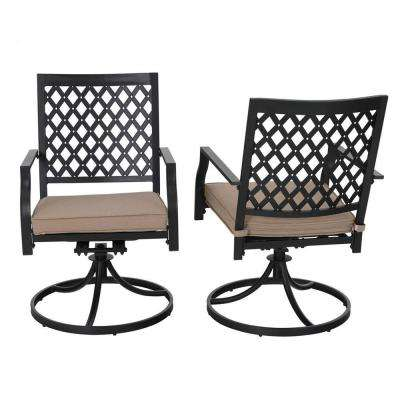 3-Piece Metal Patio Conversation Set with Beige Cushions