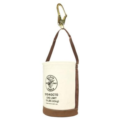 Canvas Bucket, Leather Bottom, Connection Points, 12-Inch