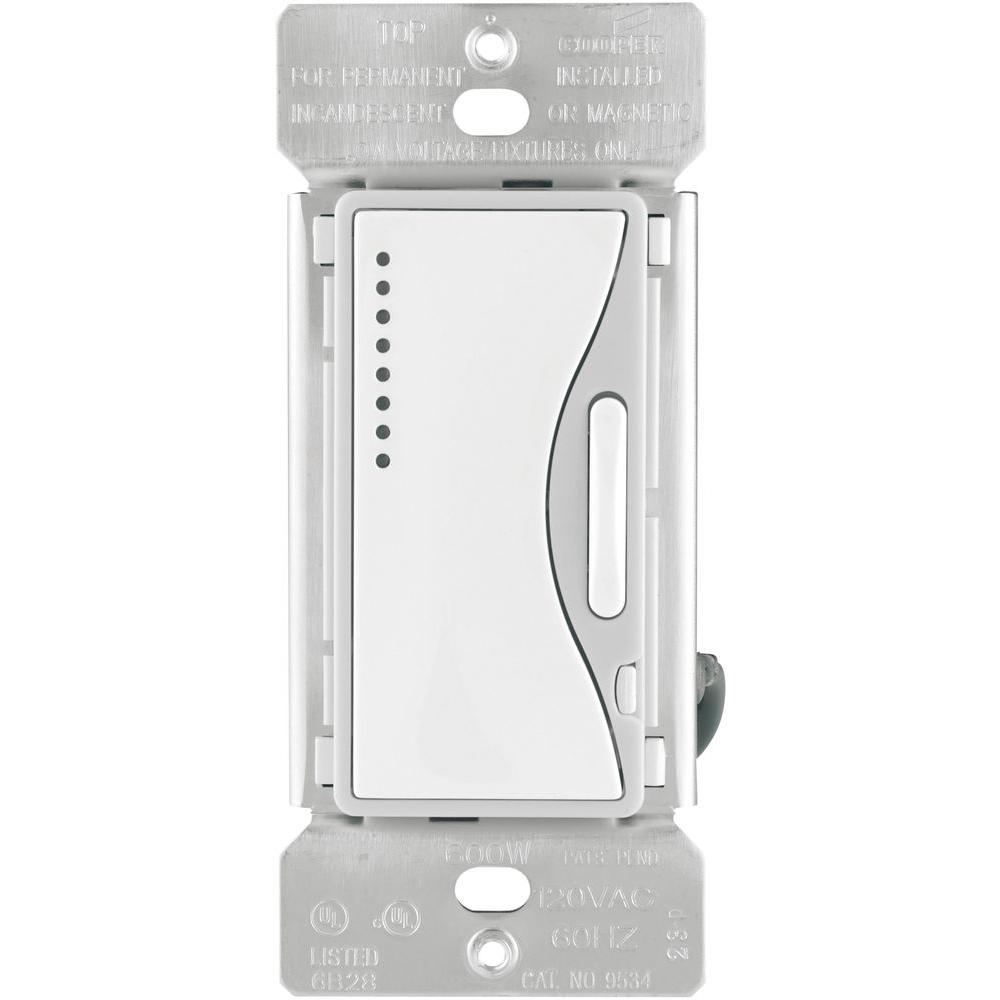 eaton aspire 600 watt smart dimmer with preset white satin 9534ws rh homedepot com LED Dimmer Switch Wiring Diagrams Dimmer Switch
