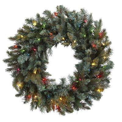 pine artificial wreath with colored lights