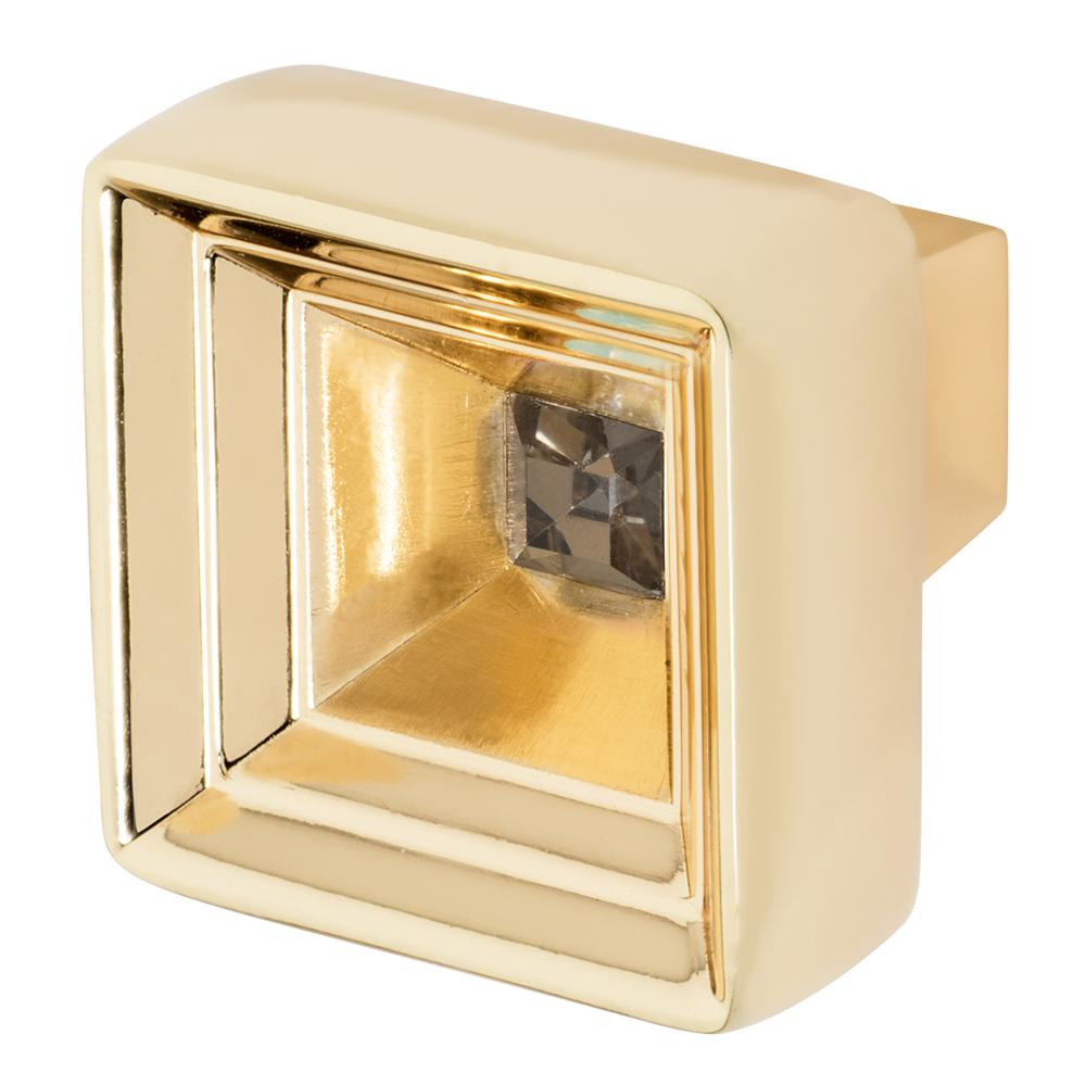 Hidden Treasure 1-1/16 in. Polished Gold with Smoke Crystal Cabinet Knob