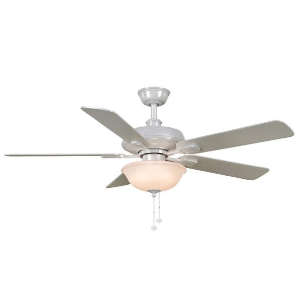 Larson 52 in. LED White Ceiling Fan with Light Kit