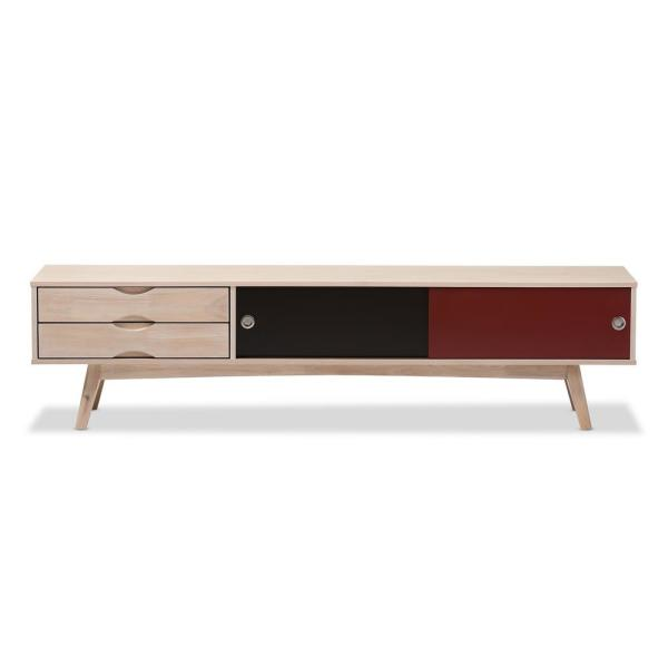 Baxton Studio Foxhill Mid Century Light Brown Finished Wood Tv Stand