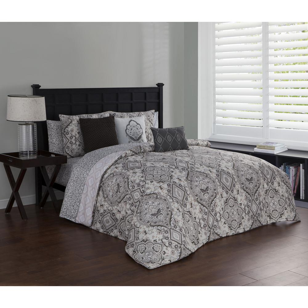 Avondale Manor Nina 10 Piece Taupe King Comforter Set Nin10ckingghta