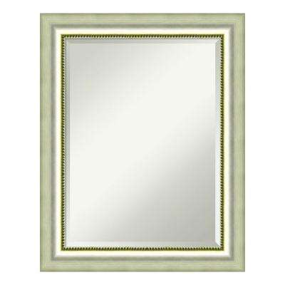 Vegas Silver Wood 23 in. x 29 in. Contemporary Bathroom Vanity Mirror