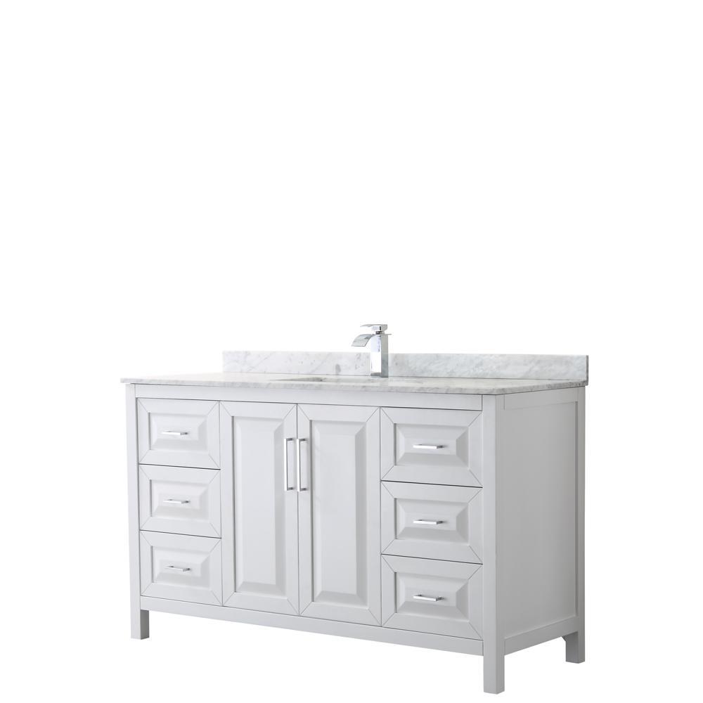 Daria 60 in. Single Bathroom Vanity in White with Marble Vanity Top in Carrara White with White Basin