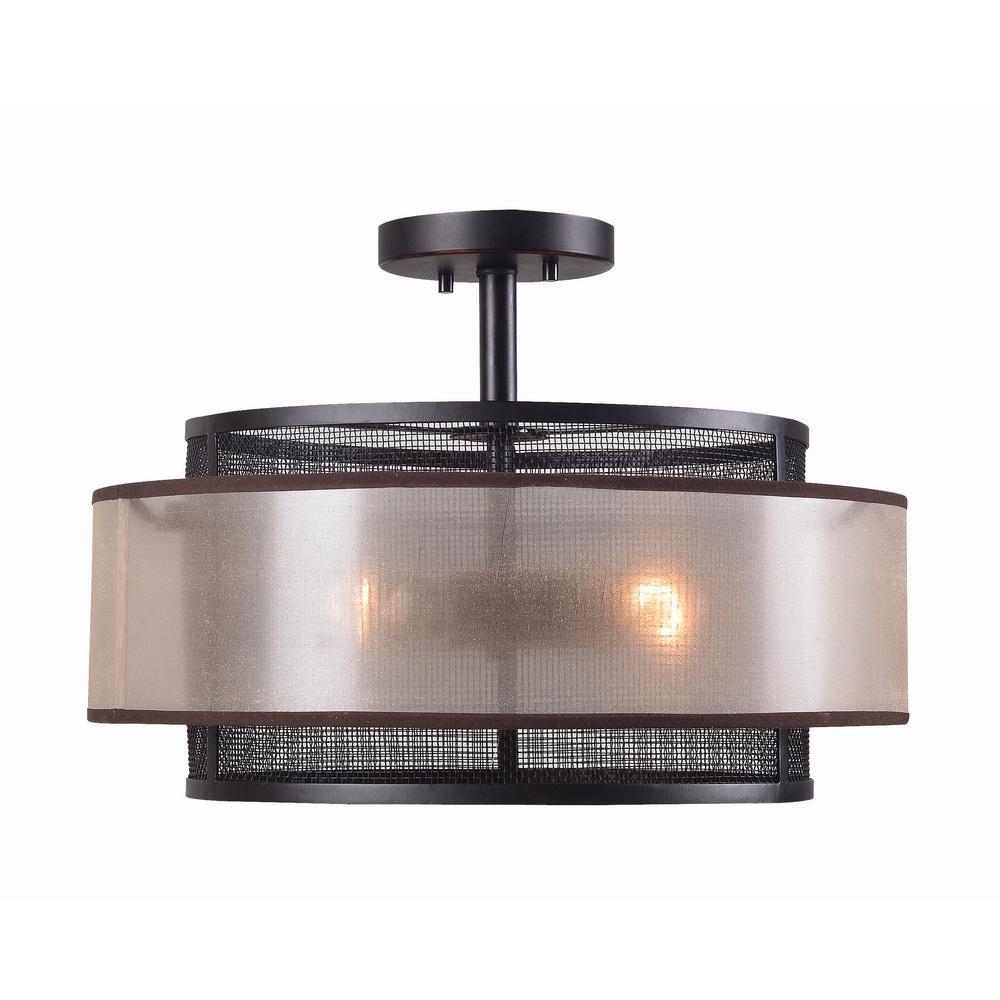 Alessandra 3-Light Bronze Semi-Flushmount